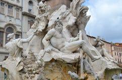 Πηγή τεσσάρων ποταμών στη Ρώμη, Ιταλία Στοκ Φωτογραφίες
