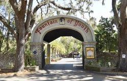 Πηγή της αρχαιολογικής πύλης πάρκων νεολαίας, Άγιος Augustine, Φλώριδα στοκ εικόνες