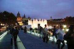 πηγή της Βαρκελώνης μαγική Στοκ φωτογραφίες με δικαίωμα ελεύθερης χρήσης