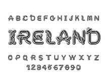 Πηγή της Ιρλανδίας Εθνικό κελτικό αλφάβητο Παραδοσιακό ιρλανδικό orname Στοκ Εικόνες