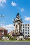 Πηγή του d'Espanya Plaça ή της πλατείας της Ισπανίας Βαρκελώνη Καταλωνία Στοκ φωτογραφίες με δικαίωμα ελεύθερης χρήσης