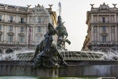 Πηγή του Naiads στην πλατεία Repubblica της Ρώμης, Ιταλία Στοκ Φωτογραφίες