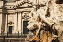 Πηγή των τεσσάρων ποταμών στην πλατεία Navona Ρώμη Στοκ Εικόνες