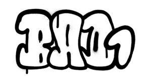 Πηγή φυσαλίδων γκράφιτι κακή 1 λέξη στο Μαύρο στο λευκό Στοκ Φωτογραφίες