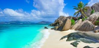 Πηγή Anse d'Argent - παραλία στο Λα Digue νησιών στις Σεϋχέλλες Στοκ εικόνα με δικαίωμα ελεύθερης χρήσης