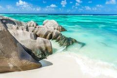 Πηγή Anse d'Argent - παραλία στο Λα Digue νησιών στις Σεϋχέλλες Στοκ Εικόνα