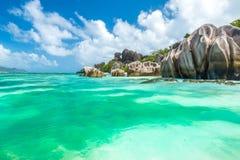 Πηγή Anse d'Argent - παραλία στο Λα Digue νησιών στις Σεϋχέλλες Στοκ φωτογραφίες με δικαίωμα ελεύθερης χρήσης