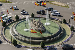 Πηγή Cibeles από το πεζούλι του Δημαρχείου της Μαδρίτης, Ισπανία στοκ φωτογραφία