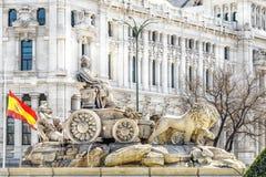 Πηγή Cibeles Plaza de Cibeles στη Μαδρίτη σε μια όμορφη DA Στοκ φωτογραφία με δικαίωμα ελεύθερης χρήσης