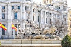 Πηγή Cibeles Plaza de Cibeles στη Μαδρίτη σε μια όμορφη DA Στοκ Εικόνες