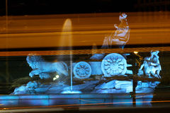 Πηγή Cibeles Plaza de Cibeles τη νύχτα, Μαδρίτη, Ισπανία Στοκ εικόνες με δικαίωμα ελεύθερης χρήσης