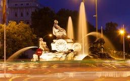 Πηγή Cibeles Plaza de Cibeles το βράδυ Στοκ φωτογραφία με δικαίωμα ελεύθερης χρήσης