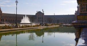 Πηγή 4k Ισπανία ήλιων της Σεβίλης light plaza de espana απόθεμα βίντεο