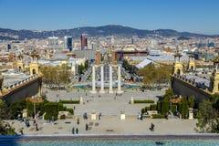 Πηγή Montjuic Plaza de Espana στη Βαρκελώνη, Ισπανία Στοκ φωτογραφίες με δικαίωμα ελεύθερης χρήσης