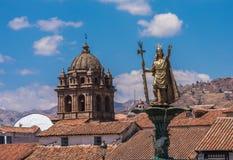 Πηγή Pachacutec Inca Plaza de Armas Cusco, Περού Στοκ Φωτογραφίες