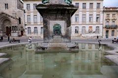 Πηγή Place de Λα Republique σε Arles, Γαλλία Στοκ φωτογραφίες με δικαίωμα ελεύθερης χρήσης