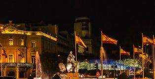 Πηγή Plaza Ciebeles κατά τη διάρκεια των Χριστουγέννων Στοκ εικόνα με δικαίωμα ελεύθερης χρήσης