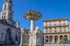 Πηγή Plaza de Σαν Φρανσίσκο de Asisi, Λα Αβάνα, Κούβα λιονταριών Στοκ εικόνα με δικαίωμα ελεύθερης χρήσης