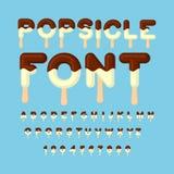 Πηγή Popsicle Παγωτό ABC Κρύο αλφάβητο γλυκών Typogra τροφίμων Στοκ Εικόνες