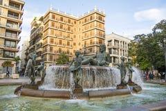 Πηγή Turia Plaza de Λα Virgen στη Βαλένθια, Ισπανία Στοκ φωτογραφία με δικαίωμα ελεύθερης χρήσης