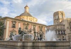 Πηγή Turia Plaza de Λα Virgen στη Βαλένθια Στοκ Εικόνες