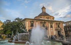 Πηγή Turia Plaza de Λα Virgen στη Βαλένθια Στοκ φωτογραφίες με δικαίωμα ελεύθερης χρήσης