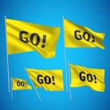 Πηγαίνετε! - κίτρινες διανυσματικές σημαίες Στοκ Φωτογραφία