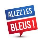 Πηγαίνετε μπλε! Ευθυμία επάνω η γαλλική εθνική ομάδα ποδοσφαίρου απεικόνιση αποθεμάτων