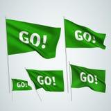 Πηγαίνετε! - πράσινες διανυσματικές σημαίες Στοκ Εικόνα
