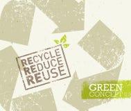 Πηγαίνετε πράσινος ανακύκλωσης μειώνει την έννοια αφισών Eco επαναχρησιμοποίησης Διανυσματική δημιουργική οργανική απεικόνιση στο Στοκ φωτογραφίες με δικαίωμα ελεύθερης χρήσης