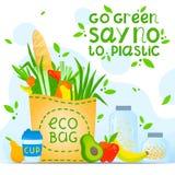 Πηγαίνετε πράσινος, για παράδειγμα αριθ. στο πλαστικό - υγιές σύνθημα τρόπου ζωής απεικόνιση αποθεμάτων