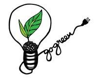 Πηγαίνετε πράσινο σχέδιο με τα φύλλα στο λαμπτήρα, διανυσματική απεικόνιση, σχέδιο χεριών Στοκ Φωτογραφίες