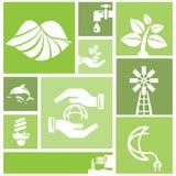 Πηγαίνετε πράσινο υπόβαθρο, εικονίδια περιβάλλοντος Στοκ Εικόνες