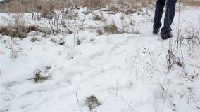 Πηγαίνετε πόδια χιονιού απόθεμα βίντεο