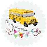 Πηγαίνετε στο σχολείο με το λεωφορείο sticker διανυσματική απεικόνιση