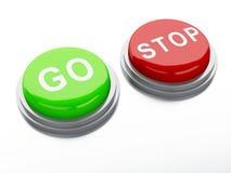 Πηγαίνετε adnd κουμπιά στάσεων τρισδιάστατη απεικόνιση Στοκ φωτογραφία με δικαίωμα ελεύθερης χρήσης