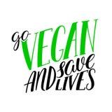 Πηγαίνετε vegan καλλιγραφία διανυσματική απεικόνιση