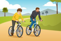 Πηγαίνοντας απεικόνιση Biking πατέρων και γιων υπαίθρια διανυσματική απεικόνιση