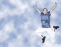 πηδώντας έφηβος απεικόνισης κοριτσιών ομοιόμορφος ελεύθερη απεικόνιση δικαιώματος