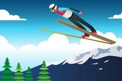 Πηδώντας απεικόνιση αθλητών σκι σε ανταγωνισμό Στοκ Φωτογραφίες
