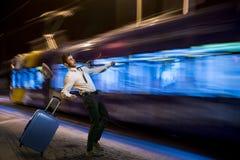 Πηδώντας έξω από κάτω από το τραμ Στοκ Εικόνες