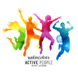 Πηδώντας διάνυσμα ανθρώπων Watercolour Στοκ εικόνα με δικαίωμα ελεύθερης χρήσης