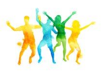 Πηδώντας φίλοι Watercolour στο θερινό διάνυσμα Στοκ φωτογραφία με δικαίωμα ελεύθερης χρήσης