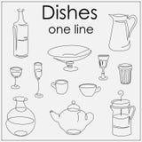 Πιάτα αντικειμένων που σύρονται μια ενιαία γραμμή Στοκ Εικόνα