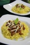 Πιάτα βόειου κρέατος και κοτόπουλου των κινεζικών νουντλς Στοκ φωτογραφίες με δικαίωμα ελεύθερης χρήσης