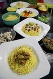 Πιάτα βόειου κρέατος και κοτόπουλου Στοκ εικόνες με δικαίωμα ελεύθερης χρήσης