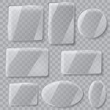 πιάτα γυαλιού διαφανή Διαφάνεια μόνο στο διανυσματικό αρχείο Στοκ Εικόνα