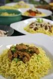 Πιάτα κοτόπουλου των κινεζικών νουντλς Στοκ Εικόνα