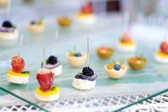 Πιάτα με τα ανάμεικτα πρόχειρα φαγητά τροφίμων δάχτυλων σε ένα κόμμα ή ένα γεύμα γεγονότος Στοκ φωτογραφία με δικαίωμα ελεύθερης χρήσης