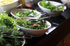 Πιάτα με τα πράσινα Στοκ φωτογραφία με δικαίωμα ελεύθερης χρήσης